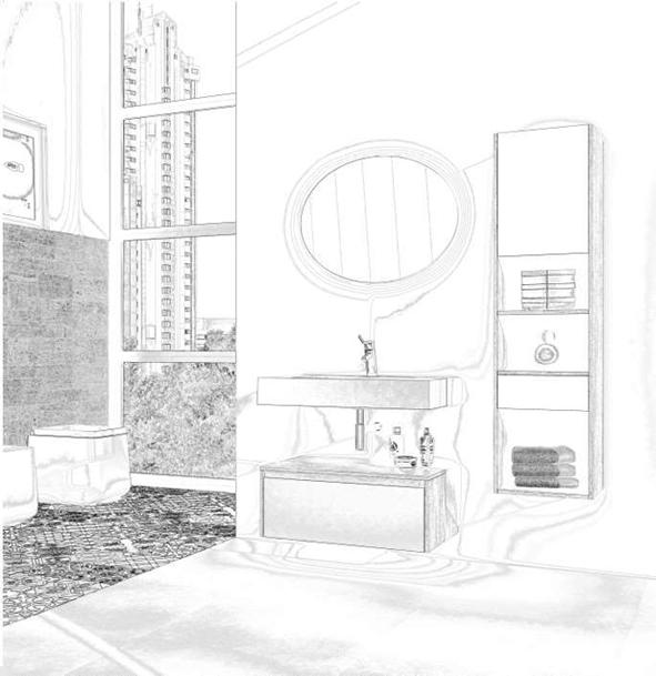 Boceto de diseño de mobiliario baño